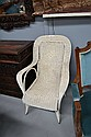 Antique painted seagrass armchair