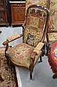 Antique French Louis Phillipe high back arm chair,