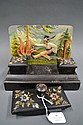 Hand painted ink well set with painted scene to