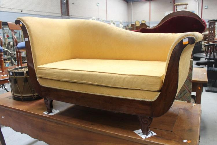Antique french louis philippe chaise golden yellow upholste for Chaise louis philippe