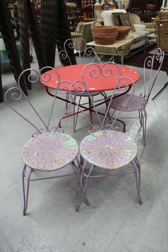 Set of four vintage french metal garden chairs circa 1950 39 s French metal garden furniture