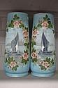 Pair of French Antique milk glass vases decorated