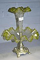Antique French green glass epergne