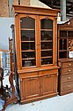Fine antique English oak two height bookcase,