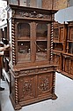 Antique French carved oak two height bookcase,