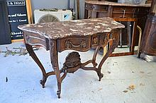 Antique French Louis XV style marble topped walnut