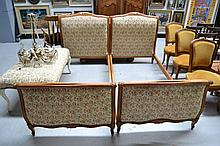 Pair of French Louis XV style beech framed beds