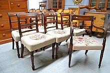 Seven antique Regency mahogany chairs, to include