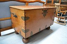 Large Colonial Dutch trunk on bun feet, with