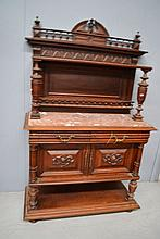 Antique 19th century French carved oak marble