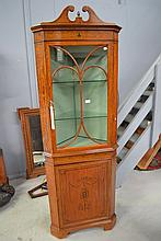 Fine antique Satinwood two height corner cabinet,