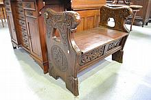 Antique Nordic bench, with well carved ends,