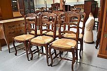 Set of six French oak Louis XV chairs (6)
