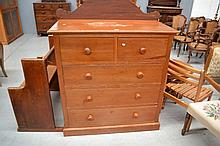 Pine chest of drawers (with mirror), approx 117cm