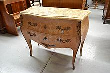 Vintage French marble topped two drawer floral
