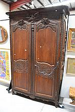 Antique French 19th century carved oak two door