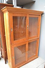 Vintage kauri pine four door sliding cabinet,