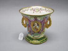 Thomas Goode Edward VII twin handled porcelain coronation vase, approx 18cm H
