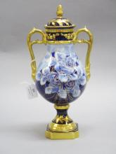 French Limoges twin handled Iris lidded urn / vase, approx 35cm H