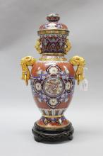 Decorative Oriental twin handled cloisonne vase, approx 43cm H
