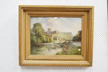 W Greaves 19th-20th century, England - river landscape with fisherman and distant castle S.L.R, approx 45cm x 60cm