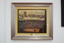 Sanchez Garcia , Plaza, oil on canvas, SLL, approx 52cm x 63cm