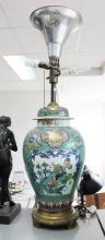 Large antique French Samson porcelain famille verte lidded vase, converted to lamp, approx 106cm H