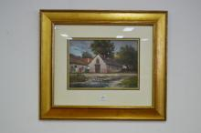 Unattributed, Hungarian school, barn & cottage by a stream, oil on board, signed lower left, approx 24cm x 34 cm