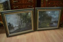 Two antique French pastels, river landscapes, each signed lower left and dated 1900,  each approx 67cm x 56cm (2)