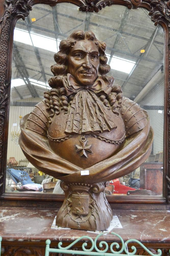 large antique imposing french terracotta bust of king louis. Black Bedroom Furniture Sets. Home Design Ideas