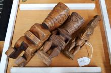 Three vintage wooden carved figures, Marquesas Islands & PNG approx 28cm L and smaller (3)