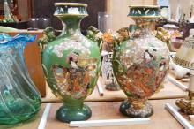 Pair of large Japanese vases decorated with Geishas, approx 50cm H (2)