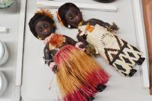 Pair of OK Kader Polynesian dolls block 1950s, approx 31cm H (2)