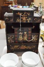 French Japanese export table cabinet, approx 45cm H x 31cm W x 14cm D