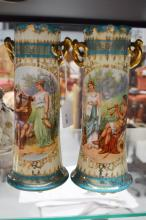 Pair of classical porcelain twin handled vases, approx 25cm H (2)