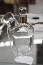 Antique silver collared dressing bottle marks rubbed, approx 11cm H