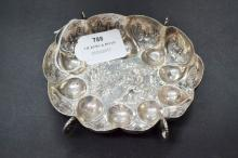 Early antique silver brandy bowl, scalloped and chased, possibly early Augsburg,17th century marked HD? With zickzack lines and a rubbed badge, approx 14cm W & 105g