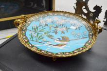 French, Japanese export cloisonne enamel tazza / centre piece with later mounts, approx 33cm dia x 9cm H
