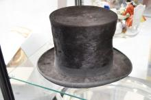 Antique French seal fur top hat, approx 25cm H