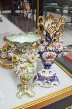 Two antique encrusted vases, approx 39cm H and smaller (AF) (2)