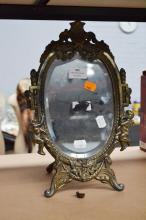 French bronzed spelter mirror, approx 36cm x 24cm (AF)