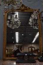 Large antique French gilt surround mirror, approx 172cm x 126cm