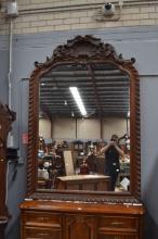 Large antique 19th century, Napoleon III period, Louis XIV style oak mirror, carvings of shell. Provenance : Centre Hospitalier Universitaire français situé à Dijon, approx 217cm H x 146cm W