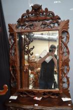Antique French carved and pierced oak cushion mirror, approx 121cm H x 82cm W