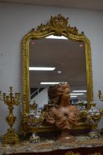 Fine antique French gilt surround mirror, approx 150cm x 95cm W