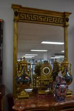 Reproduction gilt mirror, with Greek key pattern to top, approx 126cm H x 75cm W