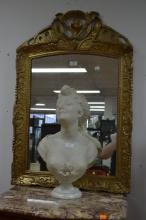 Antique French gilt gesso carved wood mirror, approx 94cm H x 63cm W