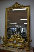 Antique French gilt surround mirror, approx 150cm H x 96cm W