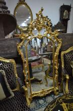 Decorative gilt surround mirror, approx 170cm H x 72cm W