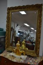 Antique French gilt decorated mirror, approx 128cm x 101cm